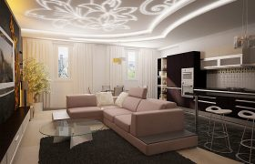 Натяжной потолок в гостиную